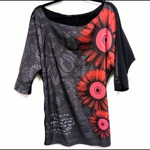 Desigual tunic black red floral Victoria Size S
